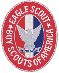Insignia of the Eagle Scout rank, shown as a badge worn on the Scout's uniform.