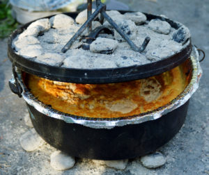 Dutch oven with cobbler